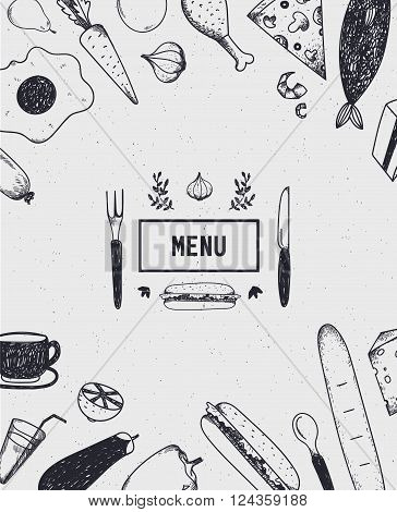 Menu poster, cover with hand drawn food. Food poster, card. Black and white. Restaurant, cafe menu template