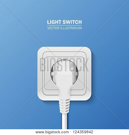 Background - power socket with cable plugged. Vector EPS10 illustration.