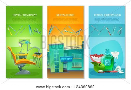 Dental clinic for affordable prophylactic procedures and painless treatment 3 flat vertical banners set abstract vector illustration