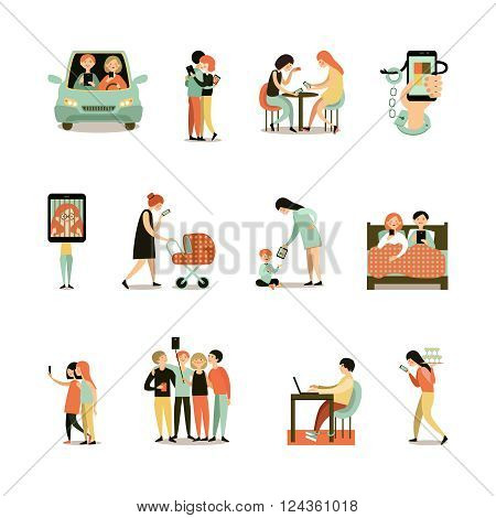 Internet addiction decorative icons set of people with smartphones during meeting driving walking working isolated vector illustration