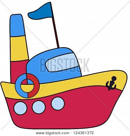 Steamboat passenger childlike drawing EPS8 - vector graphics.