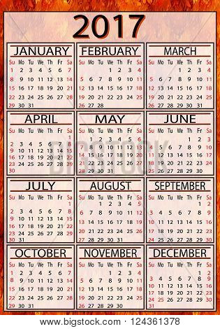 Calendar American 2017 Fire Background EPS10 - vector graphics.