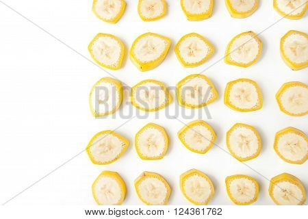 Sliced banana pattern at the right on the white background