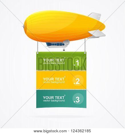 Yellow Dirigible Menu Concept for Presentations. Vector illustration