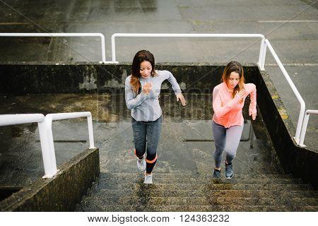 Urban Fitness Women Running And Climbing Stairs