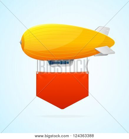 Yellow Airship Flying and Red Banner. Vector illustration