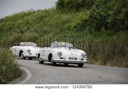 PORSCHE 356 1500 Speedster 1955  PESARO, ITALY - MAY 15: unidentified crew on an old racing car in rally Mille Miglia 2015 the famous italian historical race (1927-1957) on May 2015
