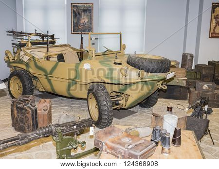 MOSCOW RUSSIA- DECEMBER 15 2015: - Car- amphibious Volkswagen Typ 166. Germany (1941-1944) at the Museum of technique V.Zadorozhnyj on December 15; 2015 in Moscow