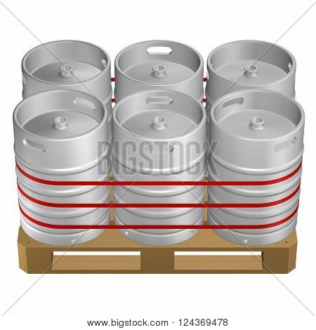 Wooden pallet with kegs, isolated on white background. 3D render.