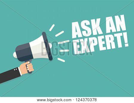 Hand holding megaphone - Ask an expert