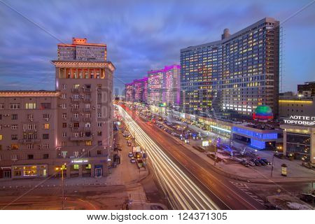MOSCOW, RUSSIA - FEB 4, 2016: (long exposure)Night Highway New Arbat, was built in 1963