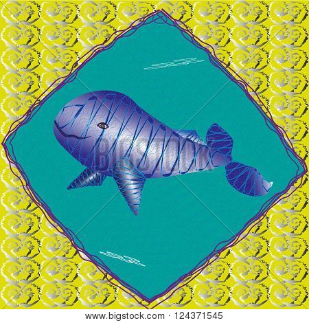 Illustration a large blue whale underwater Drawing a large blue whale underwater image concluded in a frame which is located on a yellow background with a pattern for decoration and design and print