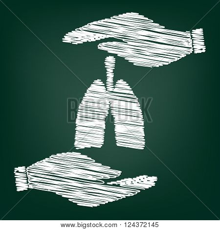 Human organs. Lungs sign. Flat style icon with scribble effect