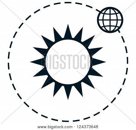 Earth orbiting around the sun vector illustration