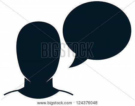 Speaking man speech bubble head face vector illustration isolated