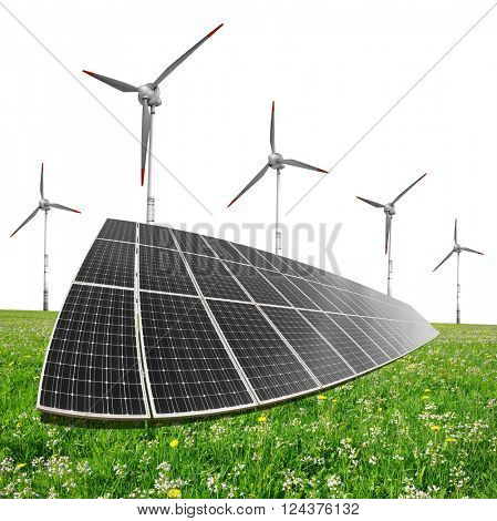 Solar energy panels with wind turbines on white background. Clean energy concept.