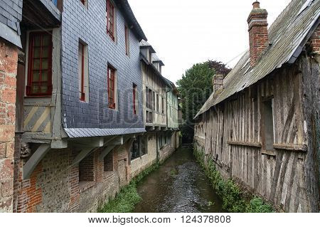 Pont-l'Eveque (Calvados Normandy France): typical old half-timbered buildings