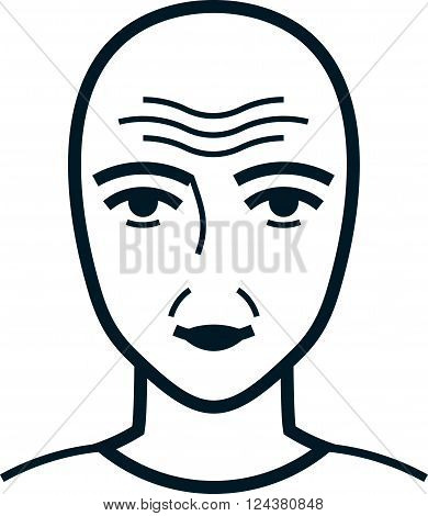 Face with wrinkles. Old wrinkled male or female simple vector illustration isolated