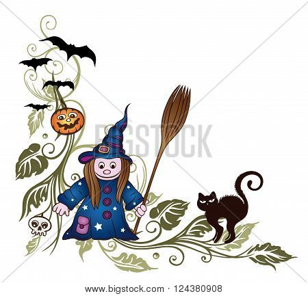 Halloween tendril, with witch, black cat, skull and bats.