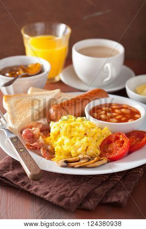 full english breakfast with scrambled eggs, bacon, sausage, beans, tomato poster