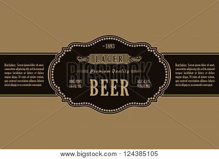 Vintage frame label. Gold sticker bottle beer. Design for label, banner, sticker premium quality. Vector frame sticker for bottle and can