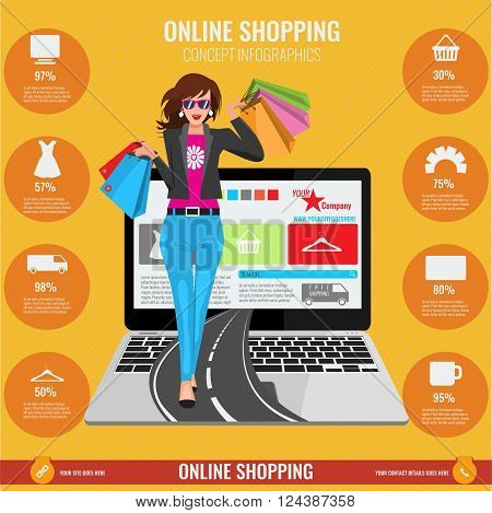 Online shopping concept infographics in vector. Illustrated Woman with paper shopping bags walking from laptop on road and orange background with lines.