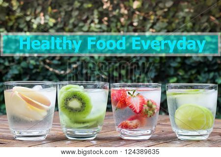Healthy food everyday quote design poster stock photo