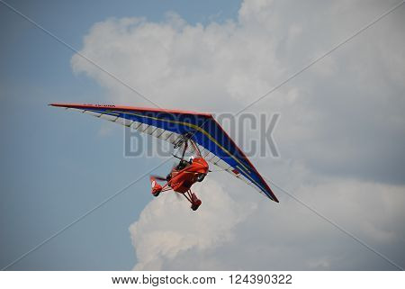 ANKARA/TURKEY-MAY 6, 2012:Ultralight aircraft on the sky during the Turkish Air Association-THK's air fest at Etimesgut Airport. May 6, 2012-Ankara/Turkey
