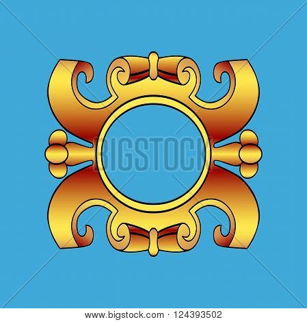 Vector vintage border frame labels design element page decorations. Gold cartouche