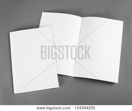 Blank catalog, brochure, magazines, book mock up. Blank opened magazine on grey background.
