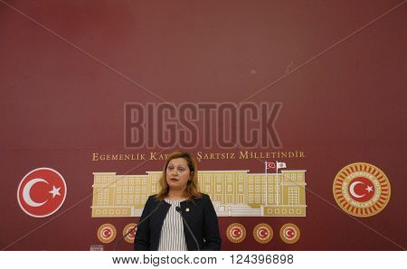ANKARA/TURKEY-FEBRUARY 24, 2016: Turkish Grand National Assembly (TBMM) Republican People's Party (CHP) Deputy Burcu Koksal during the press conference.February 24, 2016-ANKARA/TURKEY