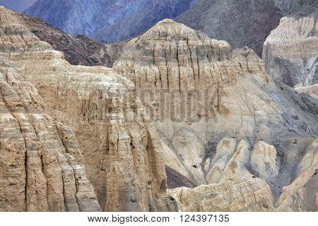 Sedimentary rocks near Lamayuru monastery, Ladakh, Jammu & Kashmir, India