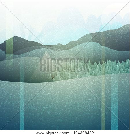 Abstract retro landscape with texture. Mountain plains. Camping in retro style.  Nature in an ancient engraving. Retro poster. Mountain landscape. Landscape.