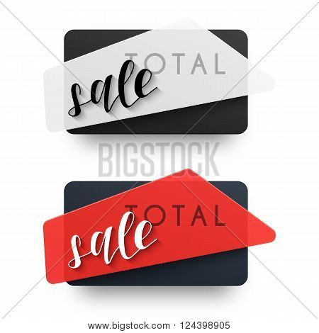 The total sales. Emblem sale. Black Label . Sticker campaign for shops . Design element . Vector sale. Realistic sticker in 3D.