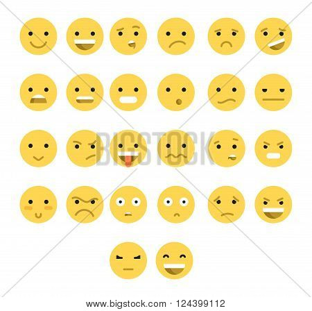 Great set of 26 yellow emotions insulated with transparent shadow. Emotions for Web. Emoji set. Anger and compassion. Laughter and tears. Smile and sadness. Sadness and surprise. Happiness and fear.