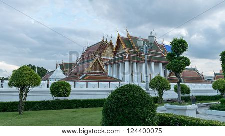 The view outside the Wat Ratchanatdaram Worawihan Bangkok Thailand
