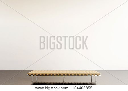 Photo exhibition modern gallery. Empty white wall in contemporary art museum. Interior loft style with concrete floor. Picture generic design furniture. 3D rendering