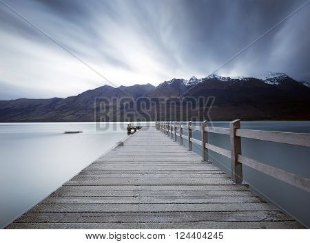 Long exposure at Glenorchy wooden pier. The long exposure effect was achieved using 10 stops ND