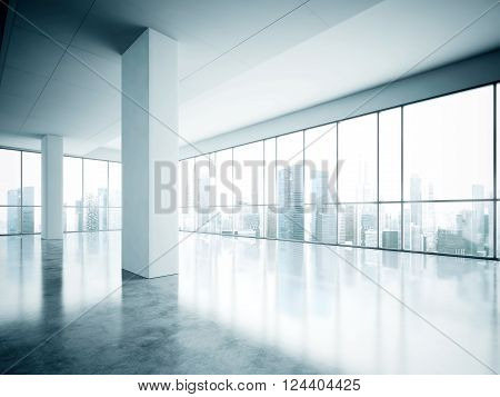 Photo of open space office in modern building. Empty interior loft style with concrete floor and panoramic windows. Contemporary city background. 3D rendering