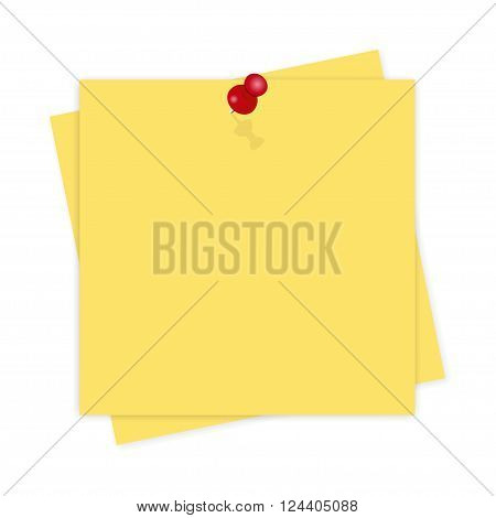 Yellow Paper, Reminder With Shadow On White Background