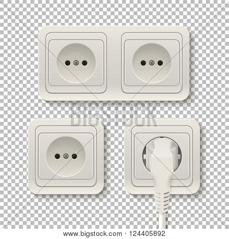 Set of realistic plastic power sockets isolated on a transparent background. Vector EPS10 illustration.