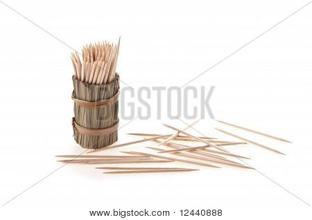 toothpicks in box isolated