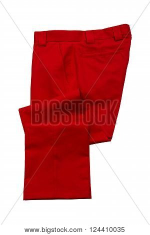 Red pants, golf trousers on white background