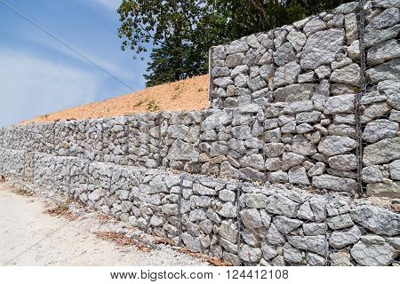 Slope Retention Management With Rocks And Wire Mesh Cage System