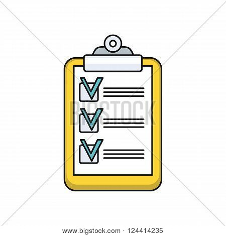 Tablet list design icon flat. Checklist tablet, business note check list, task check list paper, reminder organizer information check list, report and mark vector illustration