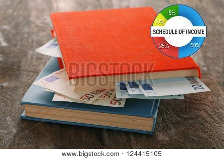 Business accounting concept. Books with nested euro banknotes on wooden table. Stash of money