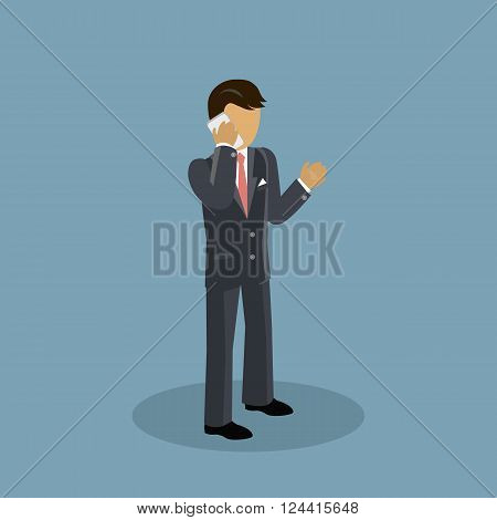 Isometric businessman speaking on a phone. Success 3d businessman with telephone speak, man worker calling to work and male young confident executive in suit speaking on telephone. Vector illustration