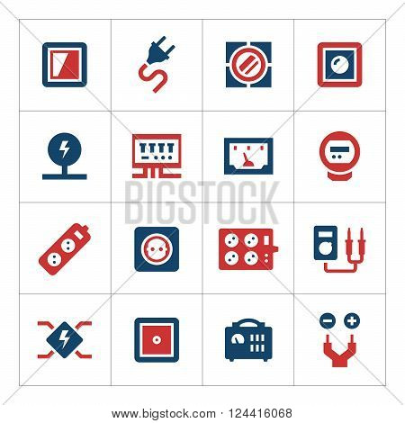 Set color icons of electricity isolated on white. Vector illustration