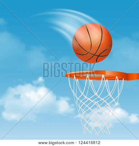 Orange Basketball Ball with Pimples Flying to Basket on Cloudy Sky Background. Realistic Vector Illustration.