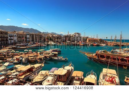 KYRENIA, CYPRUS - OCTOBER 6, 2013: Historic harbour and the old town in Kyrenia (Girne) on the Island of Cyprus on October 6, 2013.